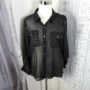 Tommy Hilfiger Black Star Print Sheer Blouse